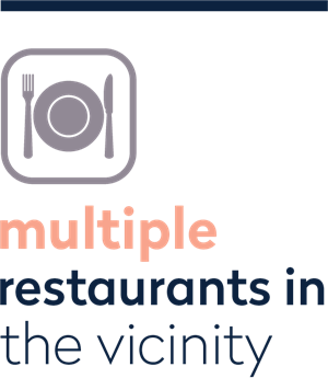 multible restaurants in the vicinity